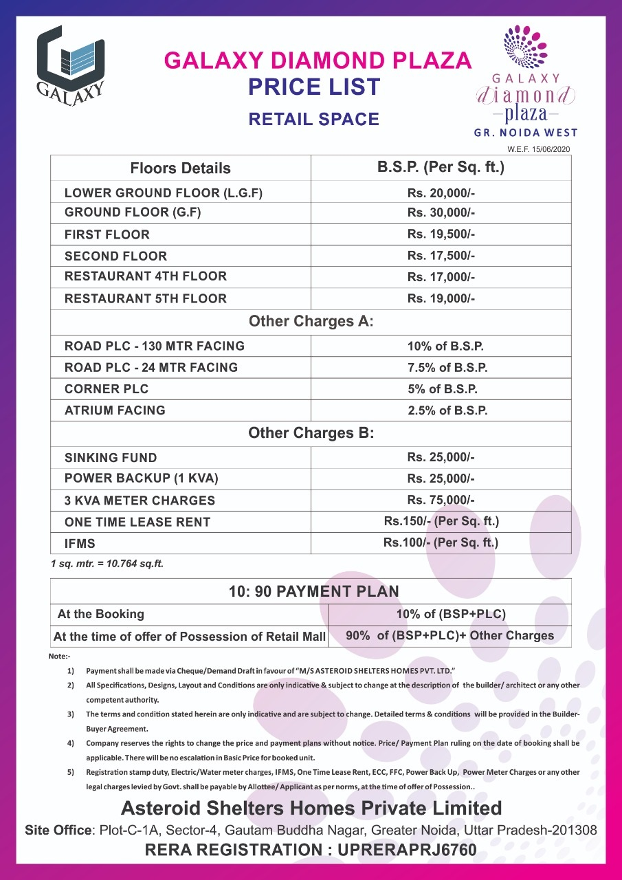 Galaxy Diamond Plaza Payment Plan